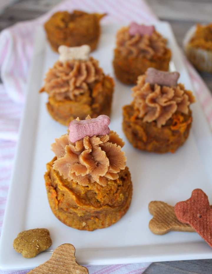 Pumpkin Carrot Pupcakes topped with Creamy Peanut Butter Frosting