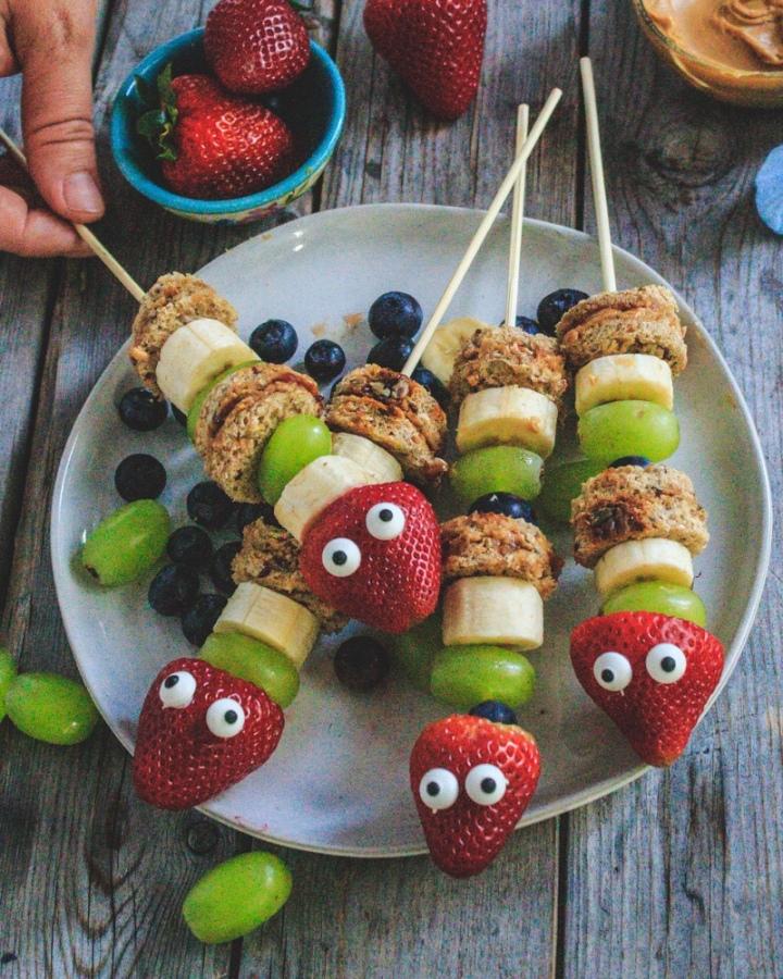 Peanut Butter Jelly Fruity CaterpillarKebabs