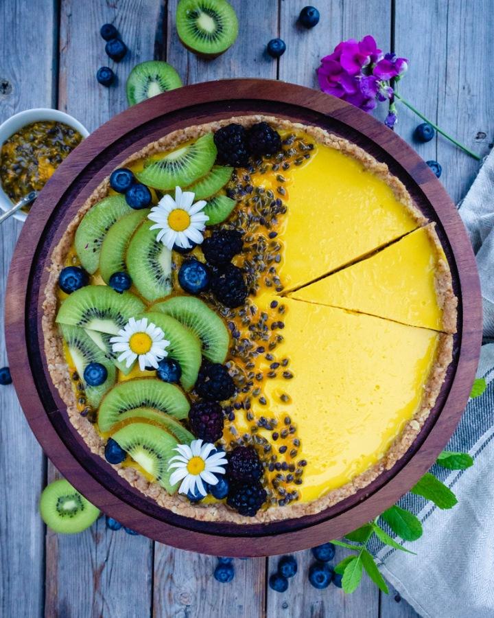 Passion Fruit Coconut Tart (Vegan, Gluten-Free & Refined SugarFree)